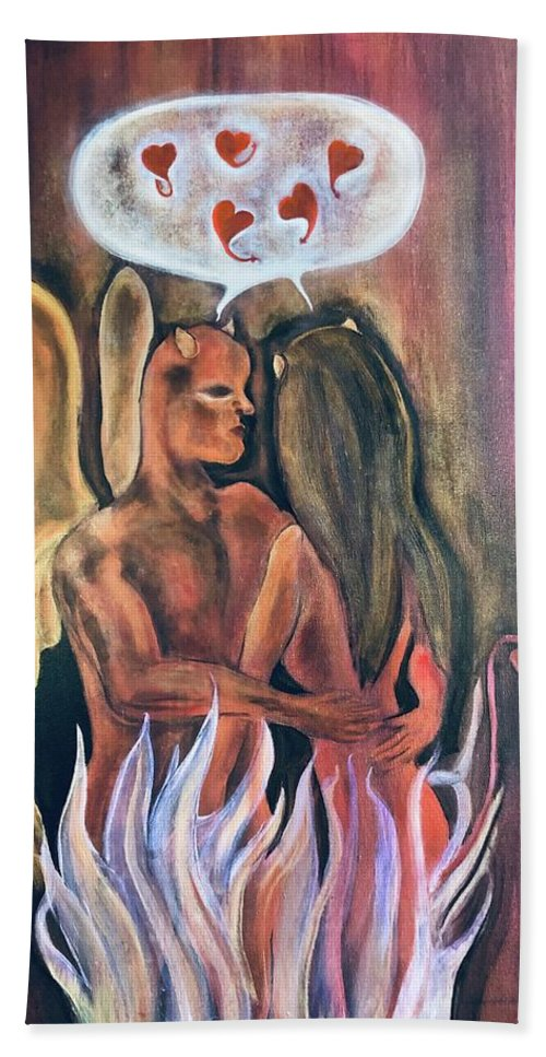 Devil Beach Towel featuring the painting Guilty Pleasures by Ron Tango Jr