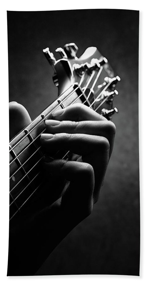 Guitar Beach Towel featuring the photograph Guitarist hand close-up by Johan Swanepoel