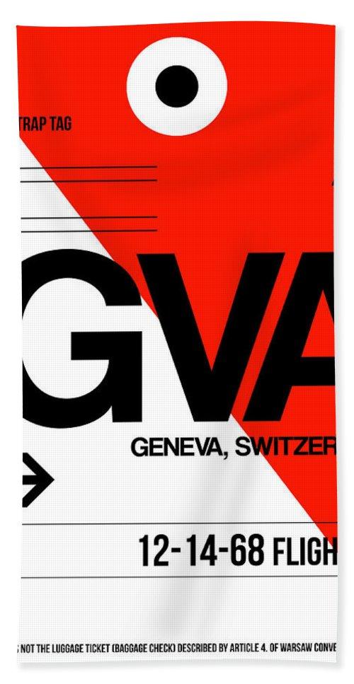 Vacation Beach Towel featuring the digital art Gva Geneva Luggage Tag I by Naxart Studio