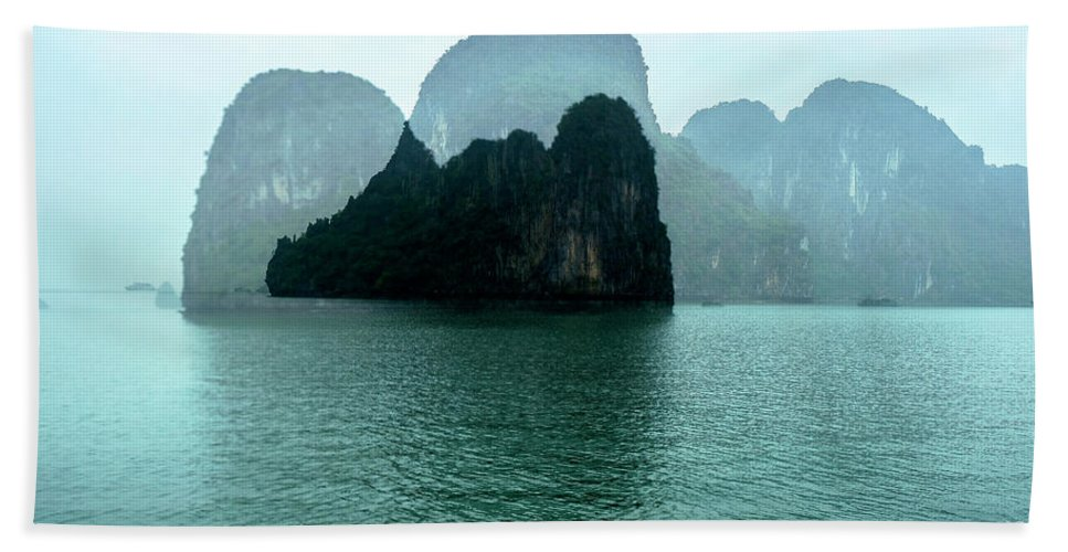 Halong Bay Beach Sheet featuring the photograph Halong Bay Mountains, Vietnam by Madeline Ellis