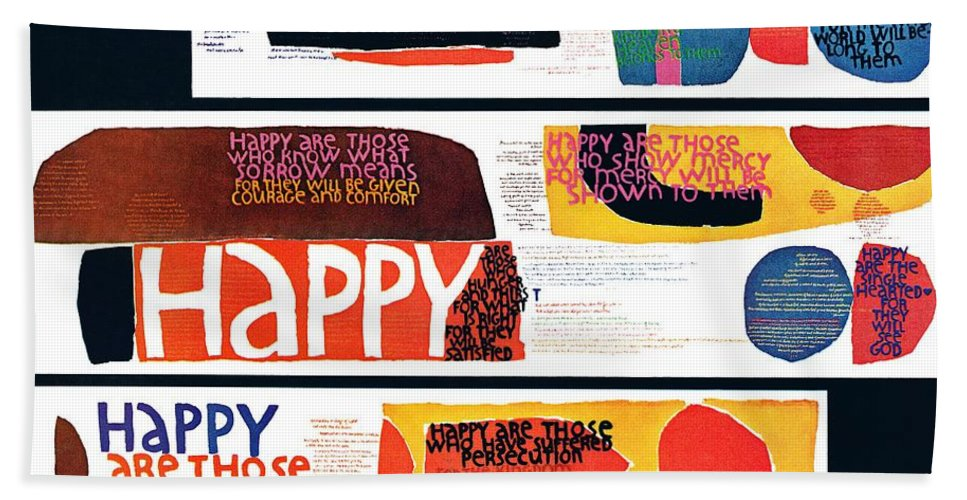 Art Beach Towel featuring the drawing Happy Collage by Sister Corita Kent