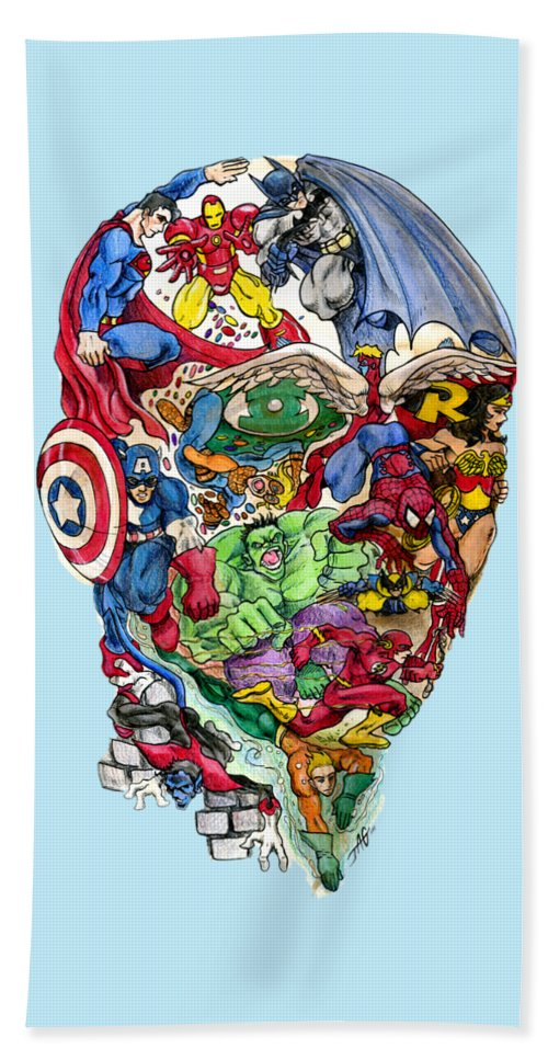 Superhero Beach Towel featuring the drawing Heroic Mind by John Ashton Golden