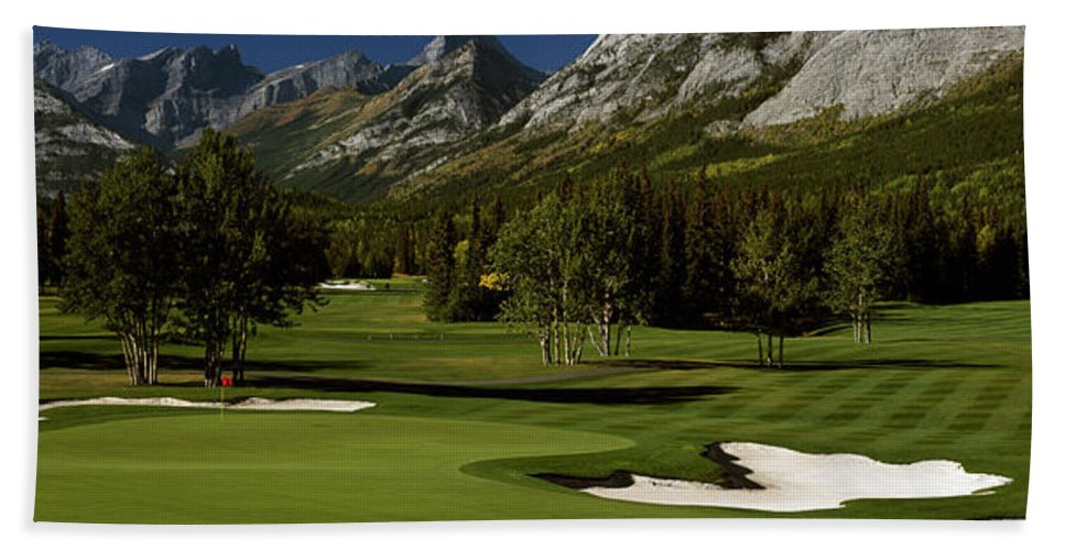 Photography Beach Sheet featuring the photograph High Angle View Of A Golf Course, Mt by Panoramic Images