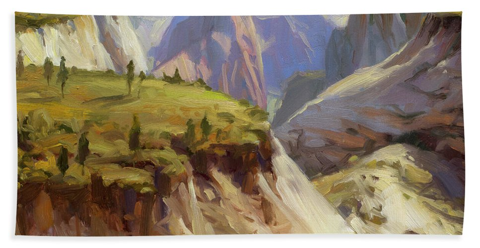 Zion Beach Towel featuring the painting High On Zion by Steve Henderson