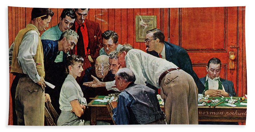 Courtroom Beach Towel featuring the drawing Holdout by Norman Rockwell