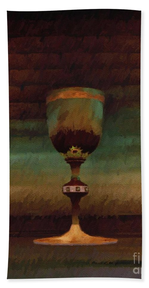 Holy Beach Towel featuring the painting Holy Grail by Esoterica Art Agency