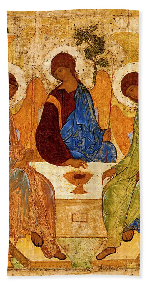 Holy Trinity Beach Towel featuring the painting Holy Trinity by Andrei Rublev
