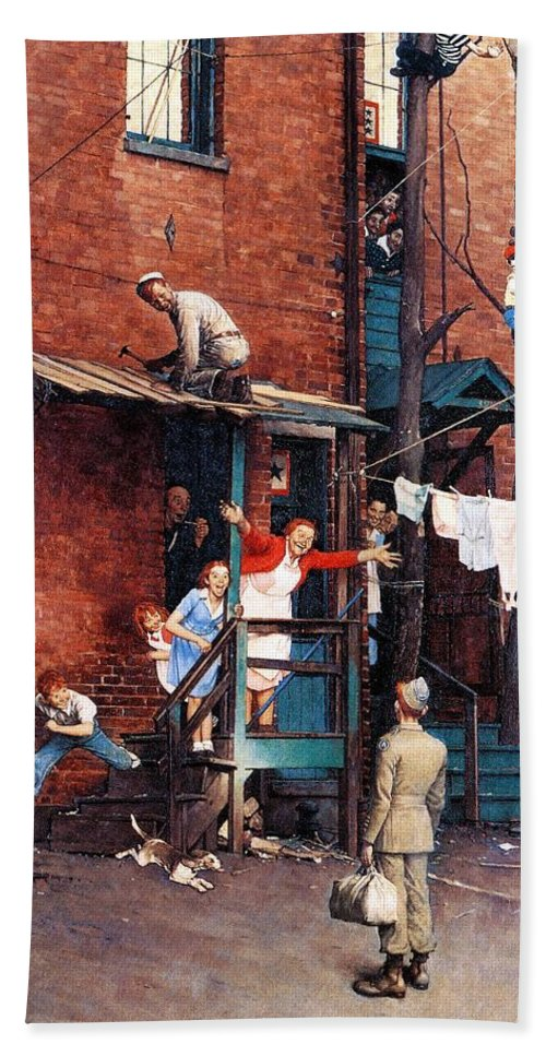 Alley Beach Towel featuring the drawing Homecoming G.i. by Norman Rockwell