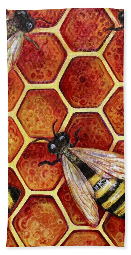 Bees Beach Towel featuring the painting Honey Bees by Kate Fortin