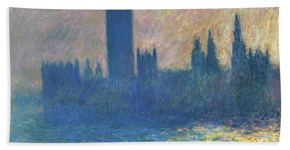 Claude Monet Beach Towel featuring the painting Houses Of Parliament, Sunlight Effect - Digital Remastered Edition by Claude Monet