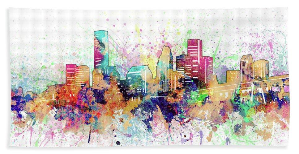 Houston Beach Towel featuring the digital art Houston Skyline Artistic by Bekim M
