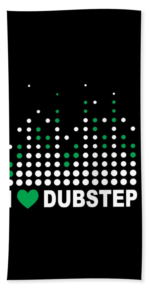 Electronic-dance-music Beach Towel featuring the digital art I Heart Dubstep by Passion Loft