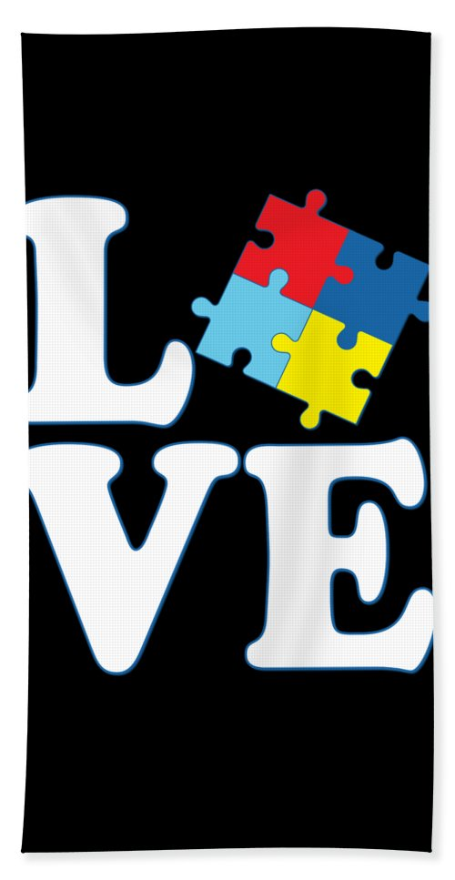 Cool Beach Towel featuring the digital art I Love Autism by Flippin Sweet Gear