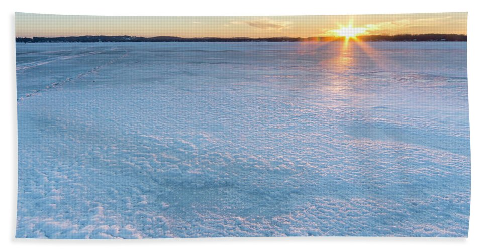Bear Lake Beach Sheet featuring the photograph Icy Sunset Square by Twenty Two North Photography