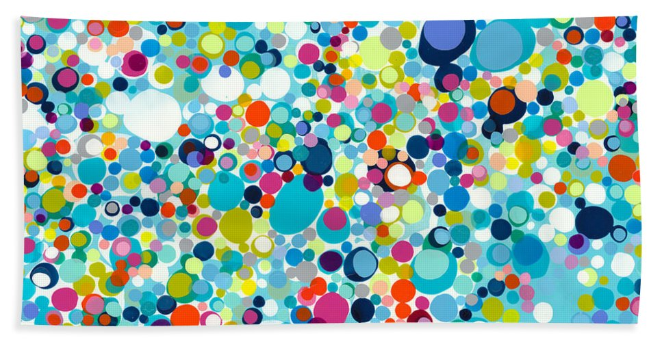 Abstract Beach Towel featuring the painting In The Meantime by Claire Desjardins