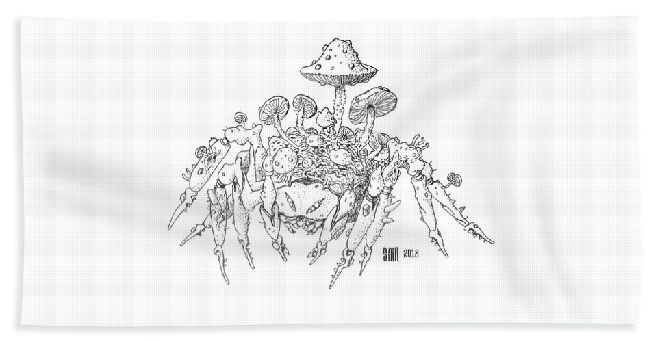 Spider Beach Towel featuring the drawing Infested Spider by Sami Matilainen