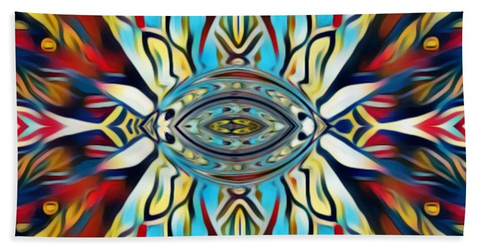 Fania Simon Beach Towel featuring the mixed media Insist Or Stay Hidden by Fania Simon