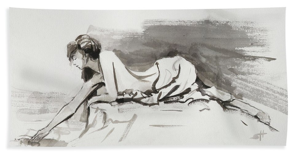 Woman Beach Towel featuring the painting Introspection by Steve Henderson