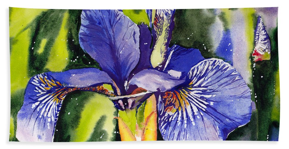 Blue Beach Towel featuring the painting Iris In Bloom by Suzann Sines