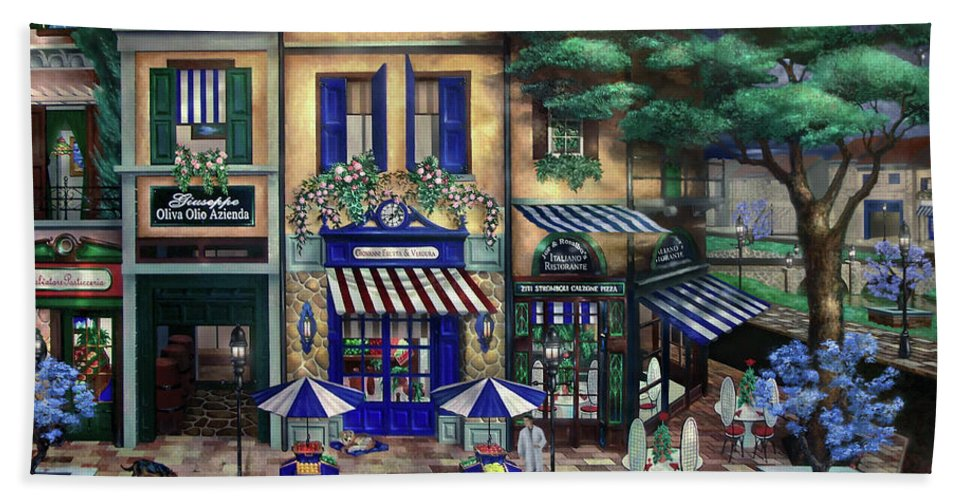 Italian Beach Towel featuring the mixed media Italian Cafe by Curtiss Shaffer