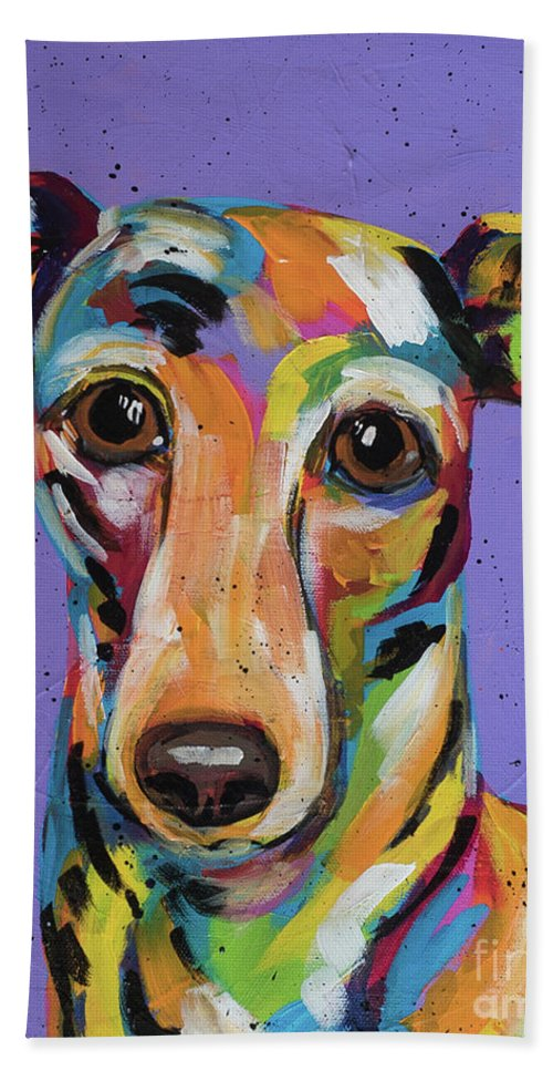 Tracy Miller Beach Sheet featuring the painting Italian Greyhound by Tracy Miller
