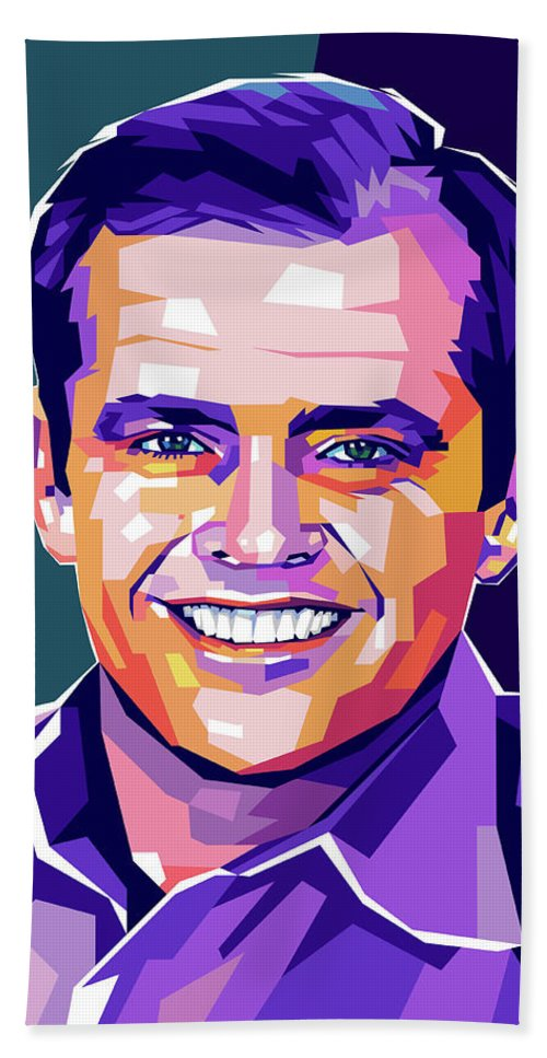 Jack Beach Sheet featuring the digital art Jack Nicholson Portrait by Stars on Art
