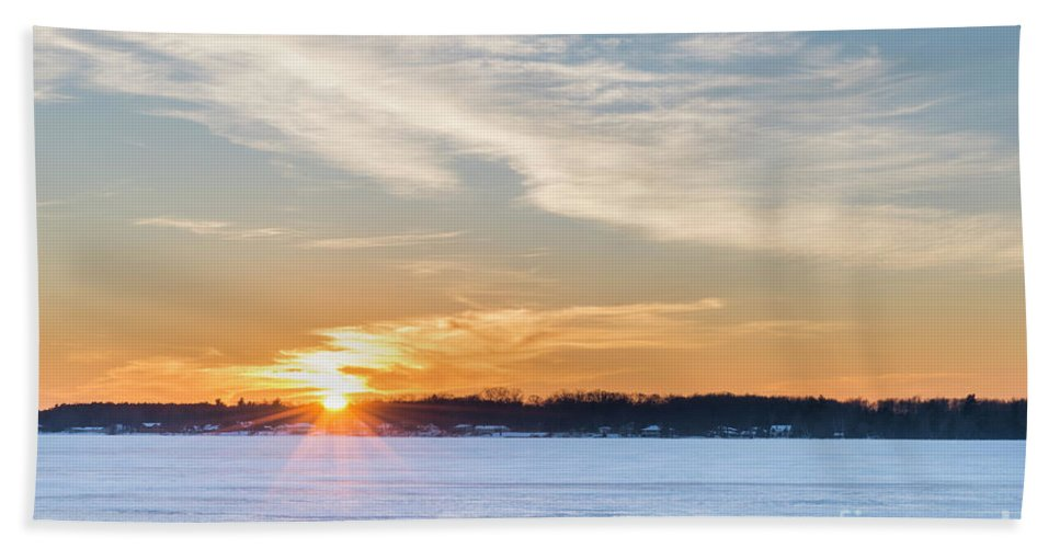 Bear Lake Beach Towel featuring the photograph January Sunset On Bear Lake by Twenty Two North Photography