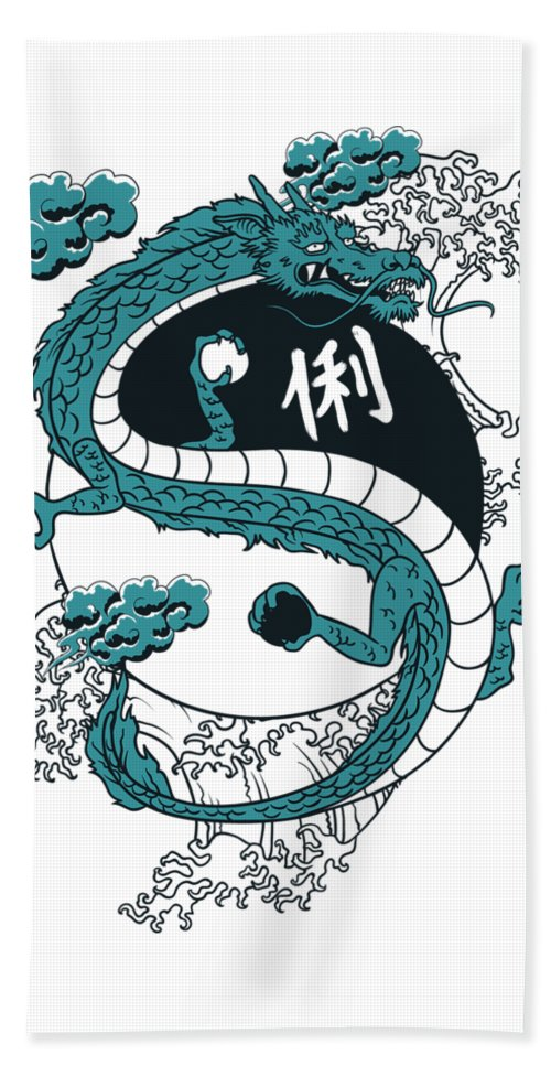 Asian Beach Sheet featuring the digital art Japanese Dragon Yinyang Water Waves by Passion Loft