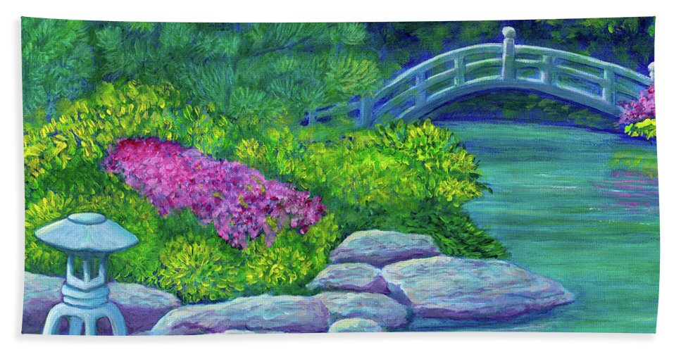 Japan Beach Towel featuring the painting Japanese Garden by Laura Zoellner