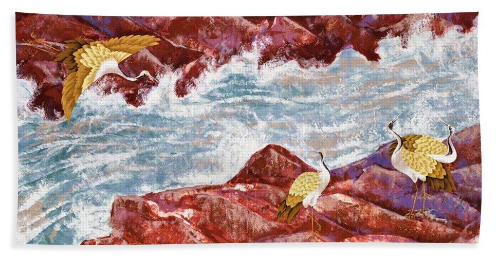 Crane Beach Towel featuring the painting Japanese Modern Interior Art #135 by ArtMarketJapan