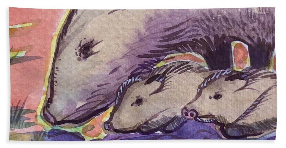 Javelina Beach Towel featuring the painting Javelina Family by Virginia Vovchuk