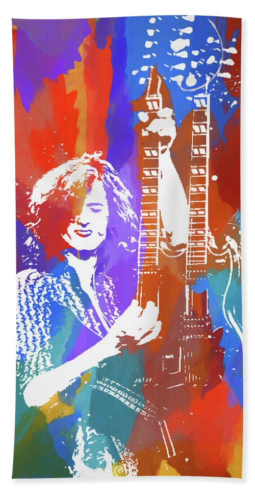 Music Beach Towel featuring the painting Jimmy Page Led Zeppelin by Dan Sproul