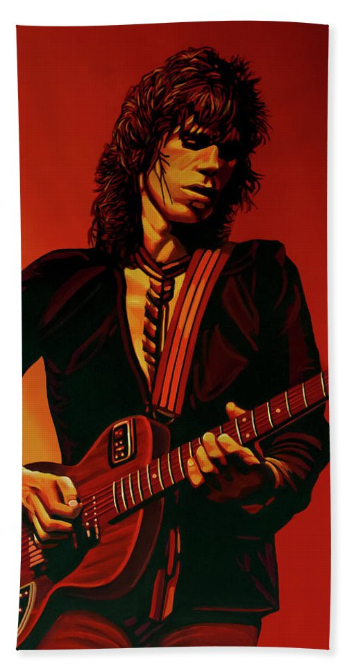 Keith Richards Beach Sheet featuring the painting Keith Richards 3 by Paul Meijering