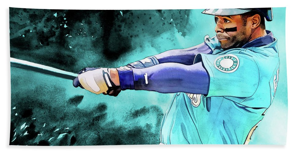 961cc95116 Ken Griffey Jr Beach Sheet featuring the painting Ken Griffey Jr - Seattle  Mariners By Michael