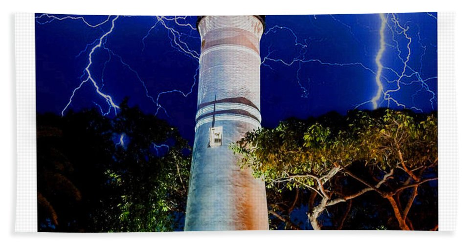Key West Beach Towel featuring the mixed media Key West Lighthouse by Jas Stem