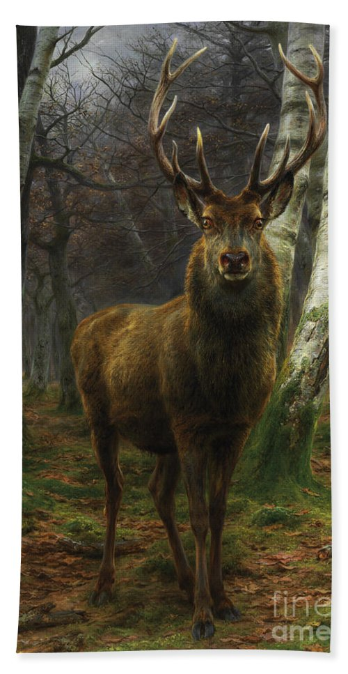 Rosa Bonheur Beach Towel featuring the painting King Of The Forest by Rosa Bonheur