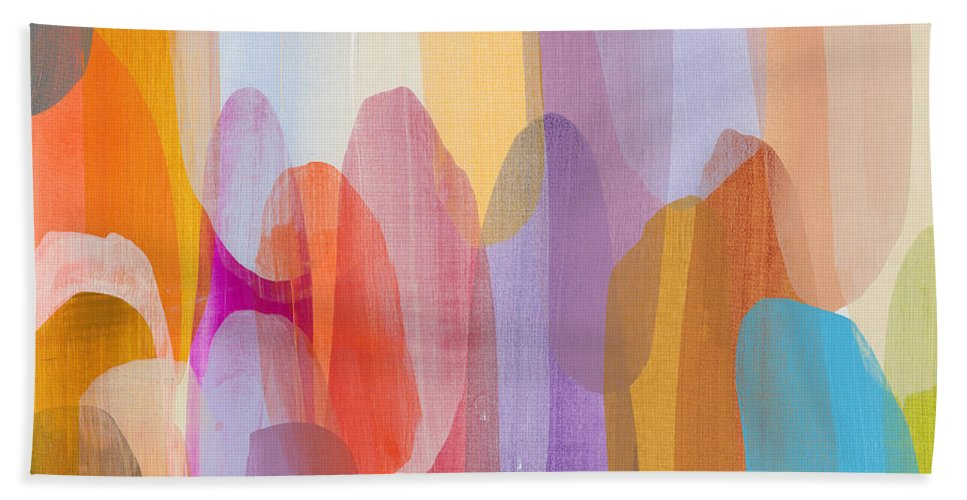 Abstract Beach Towel featuring the painting Kinship by Claire Desjardins
