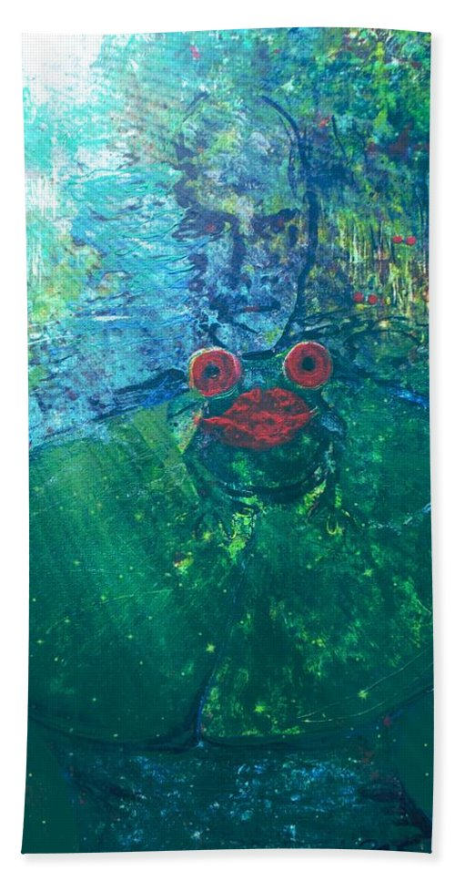Prince From A Frog On Lilly Pad Land Scape Digital Enhanced Light Rays Beach Towel featuring the painting Kiss A Frog by Thomas Dudas