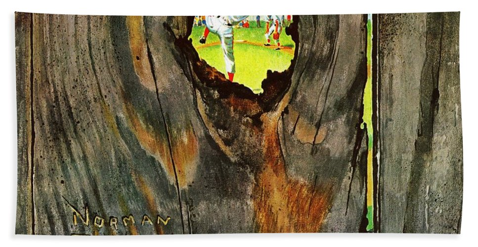 Baseball Beach Towel featuring the drawing Knothole Baseball by Norman Rockwell