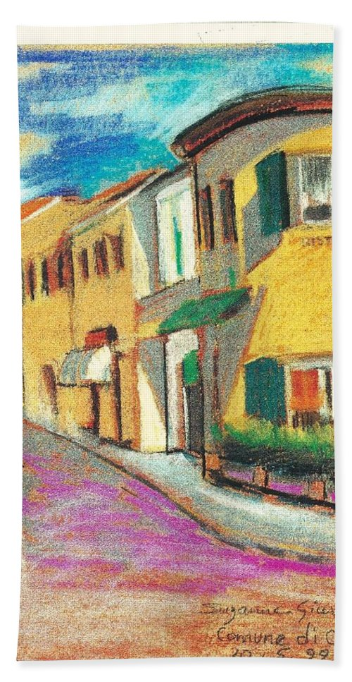 La Bichicletta Beach Towel featuring the painting La Bichicletta by Suzanne Cerny