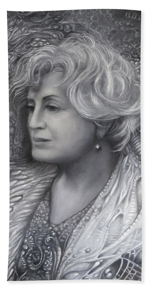 Art Of The Mystic Beach Towel featuring the drawing LADY Z - charcoal underdrawing by Otto Rapp
