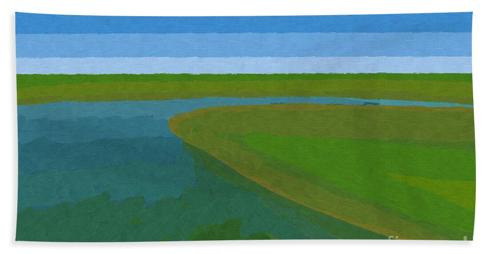 Pflugerville Beach Towel featuring the painting Lake Pflugerville Abstract Landscape by D Tao
