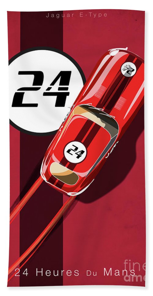Vintage Cars Beach Towel featuring the painting Le Mans Jag by Sassan Filsoof