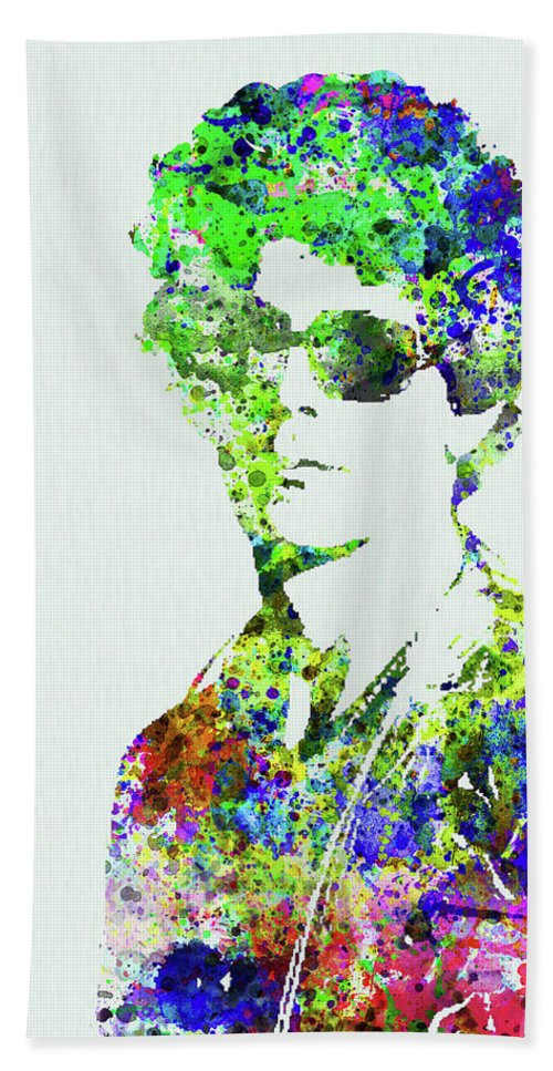 Bob Dylan Beach Towel featuring the mixed media Legendary Bob Dylan Watercolor by Naxart Studio