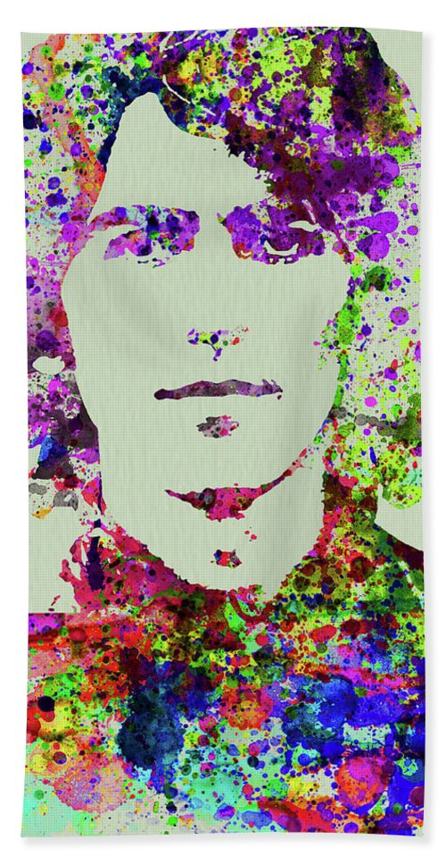 Beatles Beach Towel featuring the mixed media Legendary George Harrison Watercolor II by Naxart Studio