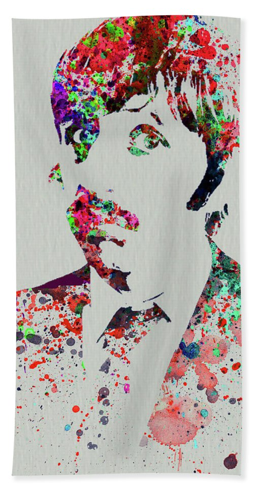 Beatles Beach Towel featuring the mixed media Legendary George Harrison Watercolor III by Naxart Studio