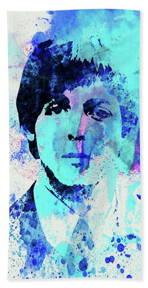 Beatles Beach Towel featuring the mixed media Legendary Paul Watercolor by Naxart Studio
