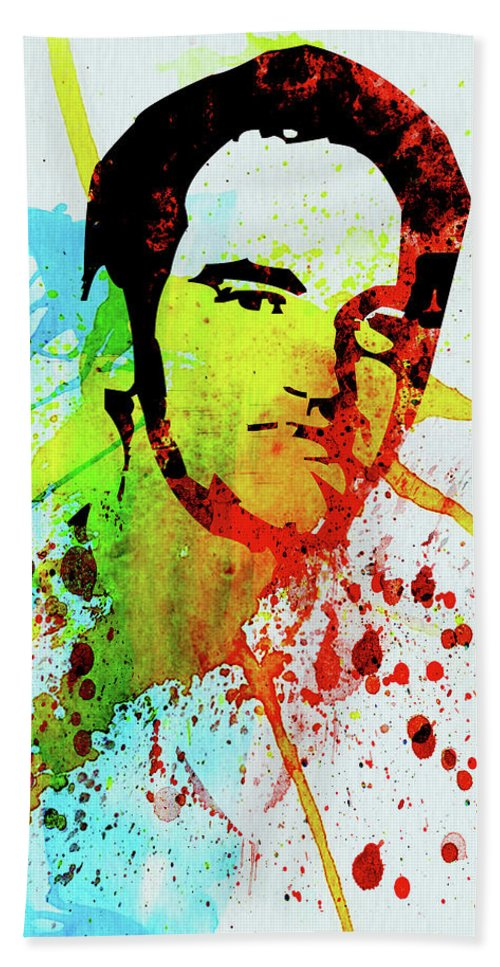 Quentin Tarantino Beach Towel featuring the mixed media Legendary Quentin Watercolor I by Naxart Studio