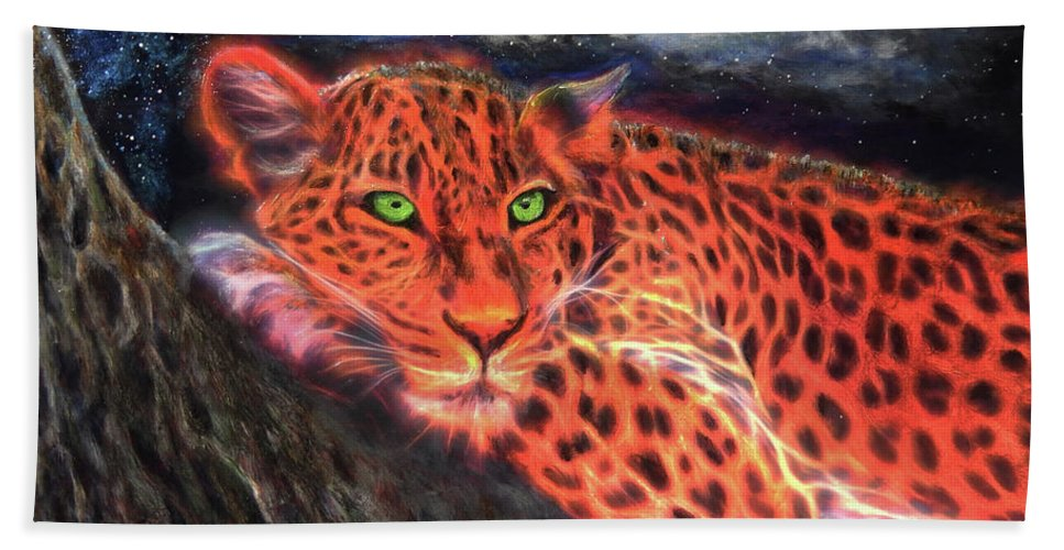 Leopard Beach Towel featuring the painting Leopard By Moonlight by Michael Durst