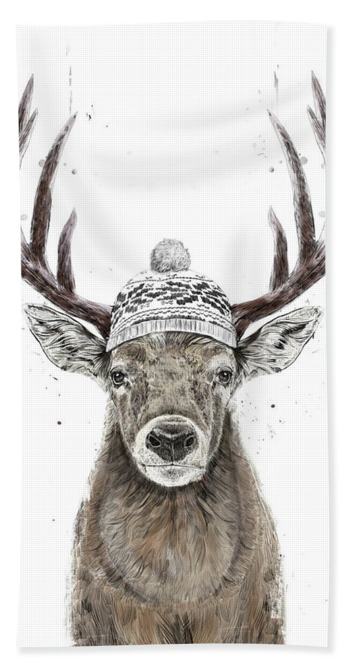 Deer Beach Towel featuring the mixed media Let's Go Outside by Balazs Solti